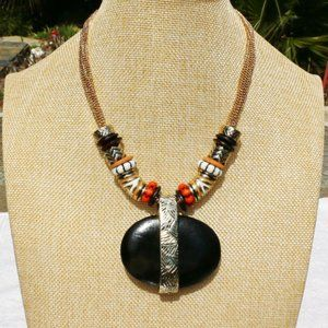 Chicos Boho Tribal Ethnic Stone Necklace Goldtone